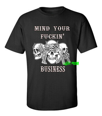 OUTLAW BIKER T SHIRT MIND YOUR F*CKIN' BUSINESS vintage retro style chopper -