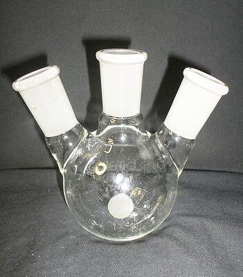 Chemglass 300ml Angled 2440 Heavy Wall 3-neck Round Bottom Flask Cg-1524-38