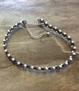 Braided Leather & Metal Bead Choker Necklace