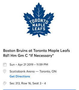 Toronto Maple Leafs Vs Boston Bruins game 6 April 21 $285