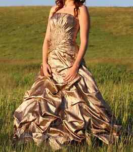 Beautiful Gold Grad Dress with Beadwork