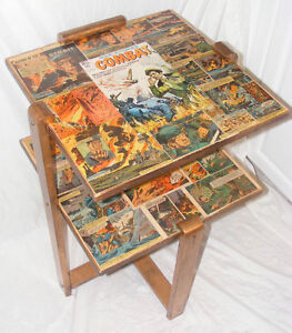 Vintage 2 Tier TV Console Table Decorated W/1960's Combat Comic