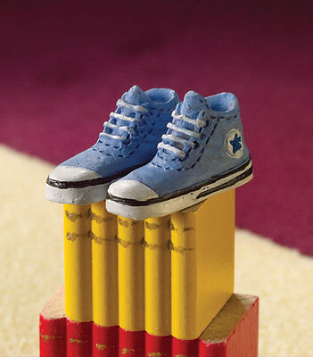 Blue Baseball Shoes / Trainers, Dolls House Miniatures, Clothing Accessory