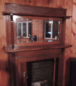 Carved wood Fireplace mantle with Mirror ( no insert)