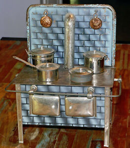Antique Tin Toy Stove with Pots, French