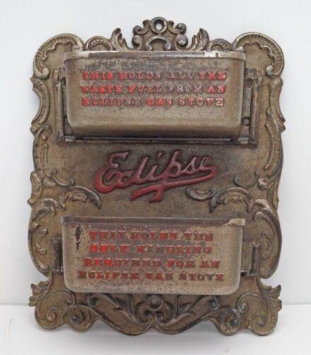 RARE HUGE ANTIQUE ADVERTISING ECLIPSE STOVE CAST IRON MATCH SAFE HOLDER 1888
