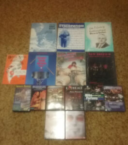 Instructional drum books, dvds and vhs tapes.