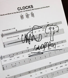 COLDPLAY signed CLOCKS framed music sheet + COA