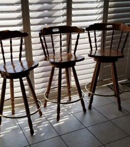 3 Wooden Bar chairs