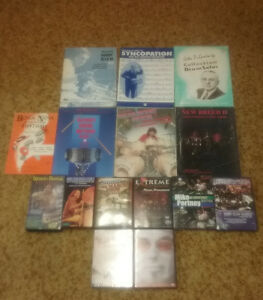 Drum books, Mike Portnoy, Marco Minnemann dvds, vhs tapes.