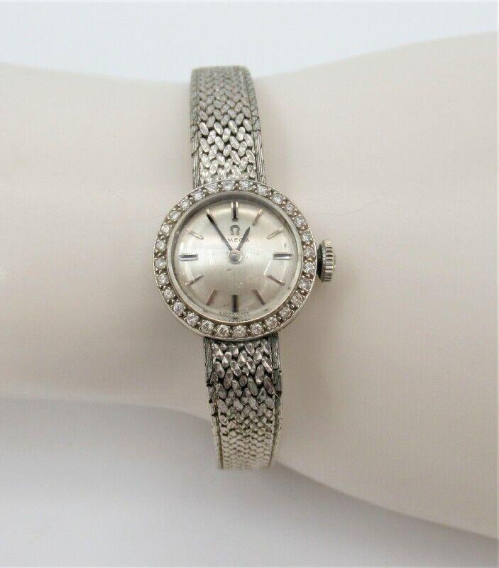 Omega Women's Custom 18K-14K White Gold Watch With Diamonds 21.6 Grams