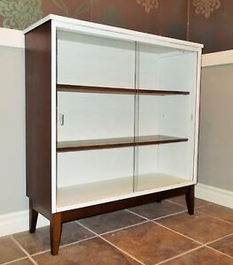 Mid Century Glass Cabinet/Bookcase