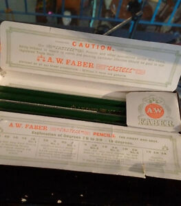 Vintage A.W. Faber Castell Tin Pencil Box w/ 4 Original Pencils