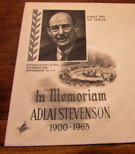 1965 Adlai Stevenson in Memoriam 5 Cent First Day Cover Kitchener / Waterloo Kitchener Area image 3