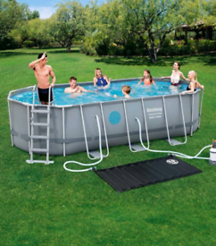 Bestway 18 x 9 ft Steel Oval Frame Pool with Sand Filter Pump, Solar P
