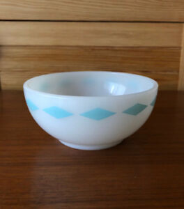 Vintage Fire King Turquoise Diamond Band Cereal Berry Bowl