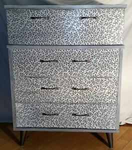 Commode vintage relookée 4 grands tiroirs