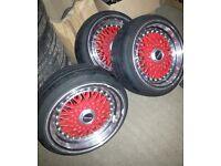 "Red Lenso 15"" Fake Split Rims BBS Style with caps 4x100 Civic Golf Polo Clio MG ZR Mini MX5"