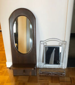 Two vintage wall hanging mirrors with shelve