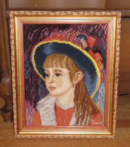 Needlepoint Framed Picture - GIRL WITH BLUE HAT - Renoir