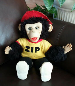 """Up for sale is a 15"""" vintage 1984 Zip the monkey from the 1950s"""