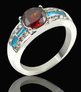 Blue Fire Opal Ruby & CZ Silver Plated Ring Size 7.5