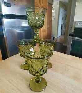 Vintage Green Christmas/Water. Glasses & Footed Dessert Dishes