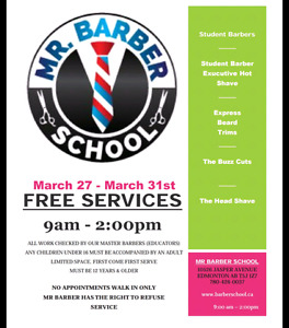 Free Cuts and shaves starts Monday
