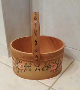 Hand Painted Wood Basket - Great for Storage or Display