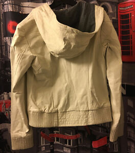 (DANIER) LEATHER CREAM HOODIE JACKET ($449)
