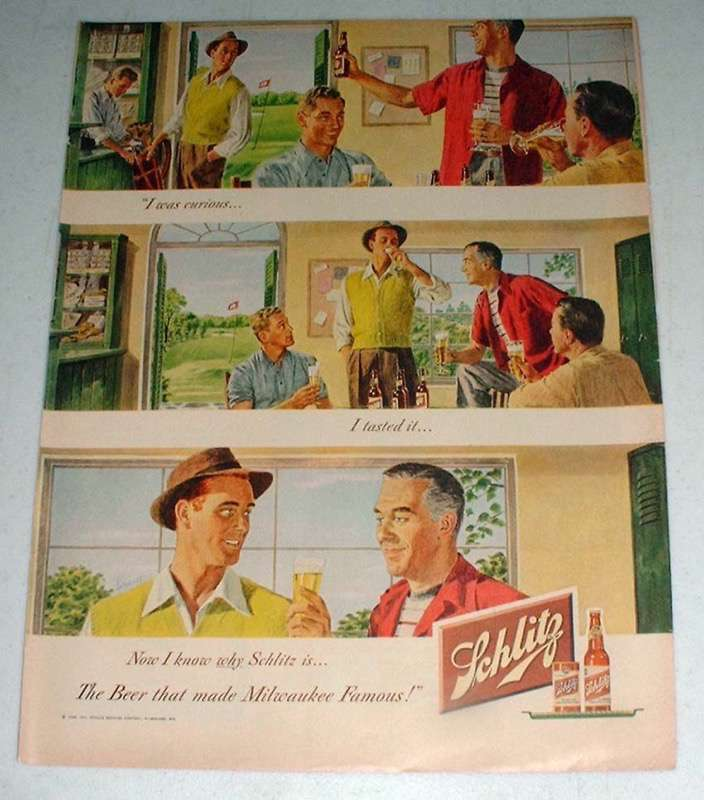 1948 Schlitz Beer Ad - I Was Curious, I Tasted It