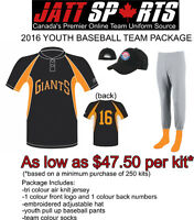 COMPLETE YOUTH BASEBALL TEAM UNIFORMS FOR AS LOW AS $47.50