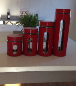 Red Kitchen Canisters, New