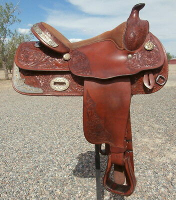 Beautiful Show Saddle Loaded with Silver /Bronze/Red Stones 16 in. Golden Brown