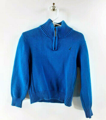 Nautica Boys Toddler Sweater Blue 1/4 Zip Long Sleeve 100% Cotton Pullover 4T