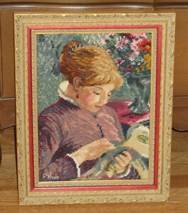 Needlepoint Framed Picture - LADY SEWING - Pierre-Auguste Renoir