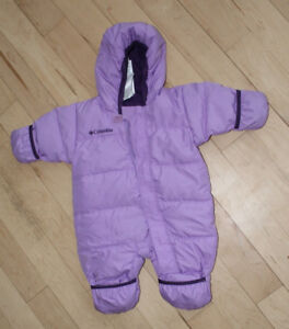 Columbia one-piece downfilled snow suit, size 0-6m