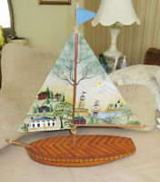 Wood SAILBOAT - Hand Crafted & Painted - Table Display City of Montréal Greater Montréal Preview