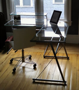 Glass desk and white office chair