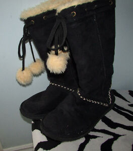 Black Suede Winter Boots - Size 8