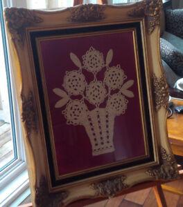 Beautifully Framed Under Glass Crocheted Flowers in Vase