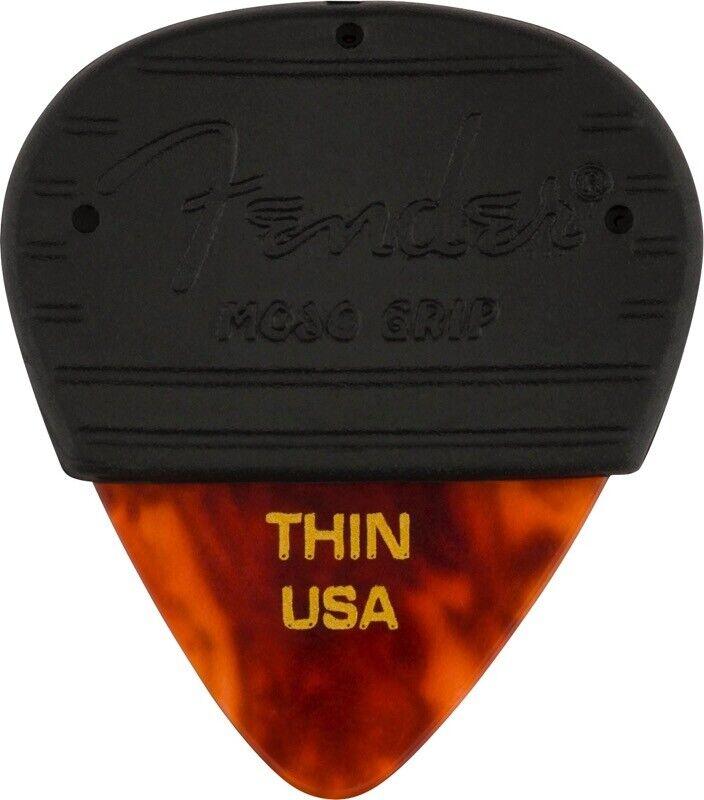Fender MOJO GRIP Guitar Picks, Celluloid, THIN, 3-Pack, TORTOISE SHELL
