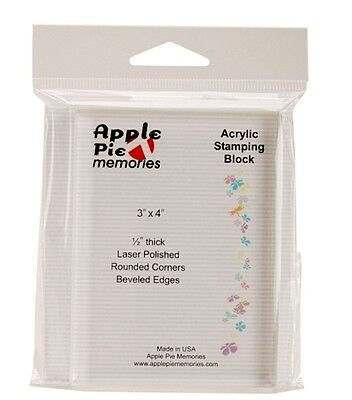 "Apple Pie Memories    ACRYLIC STAMP BLOCK  Stamping  3"" x 4""  Convenience, Clear"