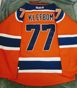 New RBK Edmonton Oilers Klefbom Large Orange NHL Hockey Jersey