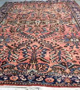 Vintage handmade persian Rug,wool,10.4 x 7.1 ft,salmon color,