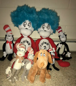 Huge Dr Seuss Cat in the Hat Plush Lot Thing 1 & 2