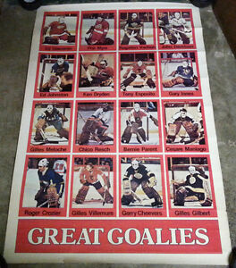 1976 Rare Great Goalies Poster / NHL HOCKEY GOALIE VINTAGE