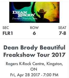 6th row FLOOR seats for Dean Brody Belleville Belleville Area image 1
