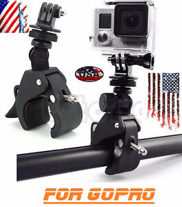 GoPro 4/3+/3/2/1 Clamp trépied+Support Handlebar 1/4 MOTO / NEUF