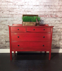 Farmhouse Rustic Red Sideboard